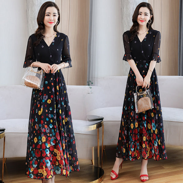 2020 summer new printing was thin waist fifth sleeve V-neck chiffon floral chiffon dress long section of female