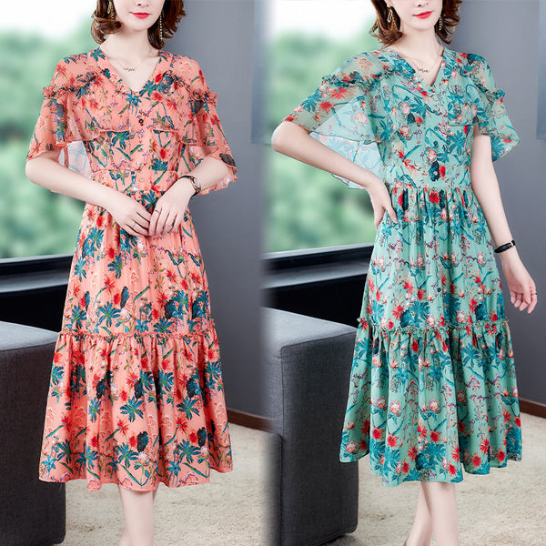 2020 summer new short-sleeved floral print chiffon V-neck loose long section was thin retro dress female tide