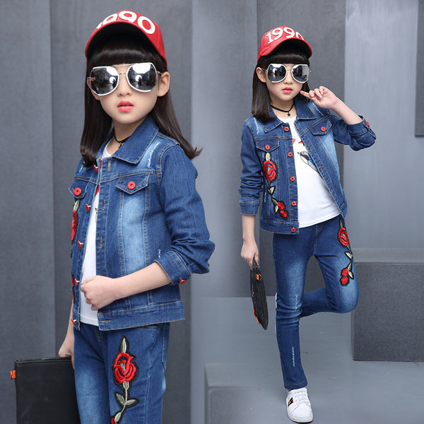 2020 Spring New Kids girls large tidal range of flower children cowboy three-piece suit a generation of fat - Marka Vip Online - ماركة