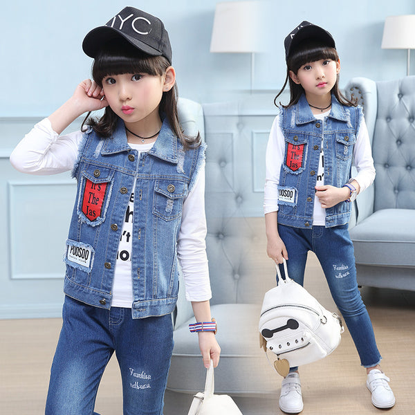 2019 spring new children's clothing girls Zhongshan University Children's angel wings denim vest a generation of fat derivative - Marka Vip Online - ماركة