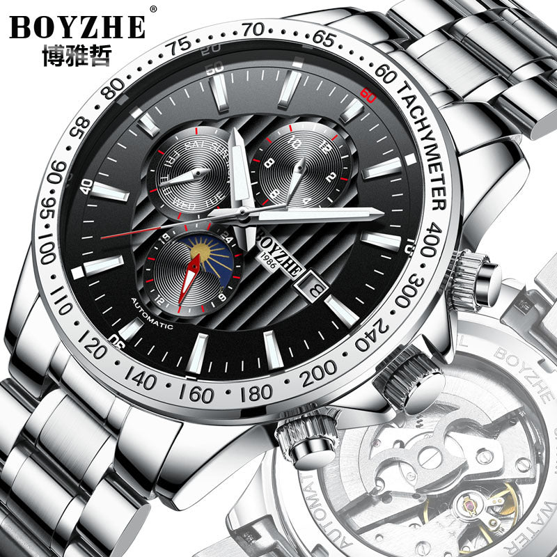 BOYZHE automatic mechanical steel hollow waterproof luminous atmosphere of casual fashion men's watches Recruitment Agency - Marka Vip Online -