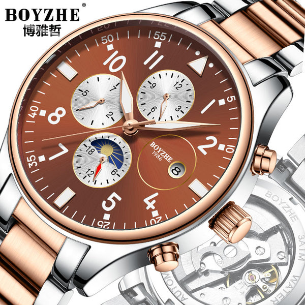 BOYZHE / Bo Yazhe men automatic mechanical watch steel strip through the end of luminous watches Recruitment Agents - Marka Vip Online - ماركة
