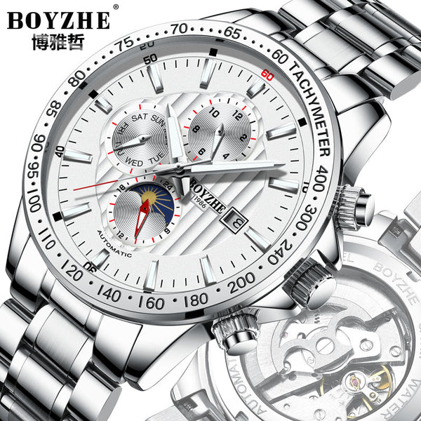 BOYZHE automatic mechanical steel hollow waterproof luminous atmosphere of casual fashion men's watches Recruitment Agency - Marka Vip Online - ماركة