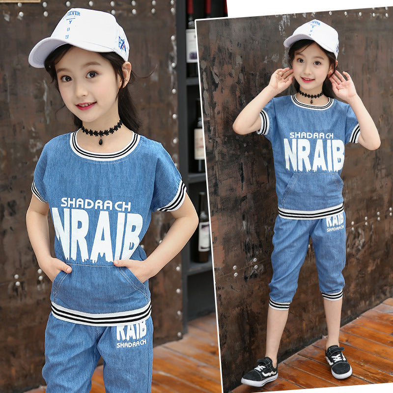 2020 fashion models big virgin suit summer influx of female children's clothing letters round neck short sleeve striped two-piece denim thread