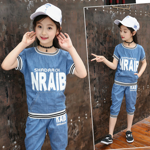 2020 fashion models big virgin suit summer influx of female children's clothing letters round neck short sleeve striped two-piece denim thread - Marka Vip Online - ماركة