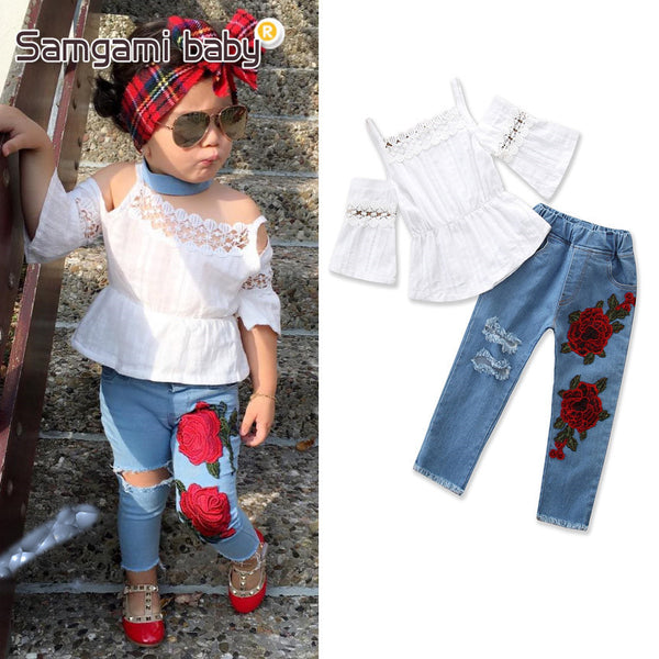 Amazon ins samgami baby summer burst models girls suspenders embroidered shirt + jeans suit - Marka Vip Online - ماركة