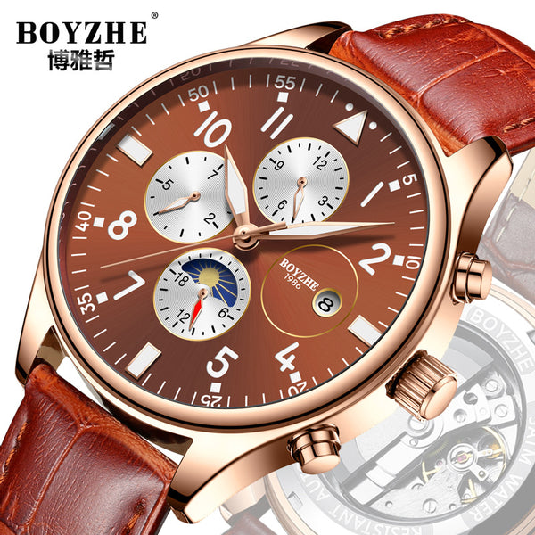 BOYZHE new men's mechanical watches leather strap watch sports fashion business investment agency a generation of fat - Marka Vip Online - ماركة