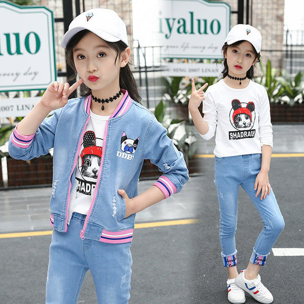 2020 Korean version of the new children's clothing children's spring and autumn big virgin girls cowboy suit two-piece casual fashion tide - Marka Vip Online - ماركة