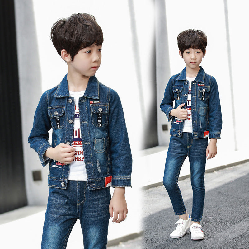 Kids Male Tong Chunqiu suit 2020 new Korean large children's two-piece denim pants, denim jacket - Marka Vip Online - ماركة