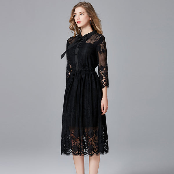 2019 large code 200 pounds fat sister lace dress temperament ladies black dress clothes women - Marka Vip Online - ماركة