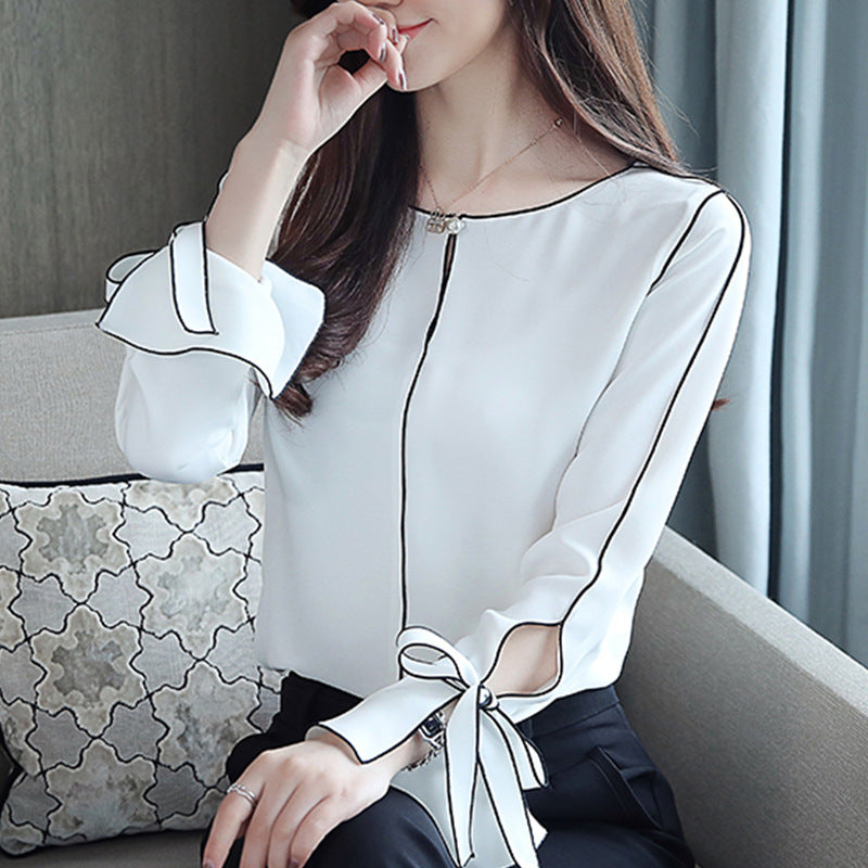 Lace long-sleeved shirt chiffon bow tie temperament hedging long-sleeved shirt chiffon chiffon shirt female pure color with - Marka Vip Online - ماركة