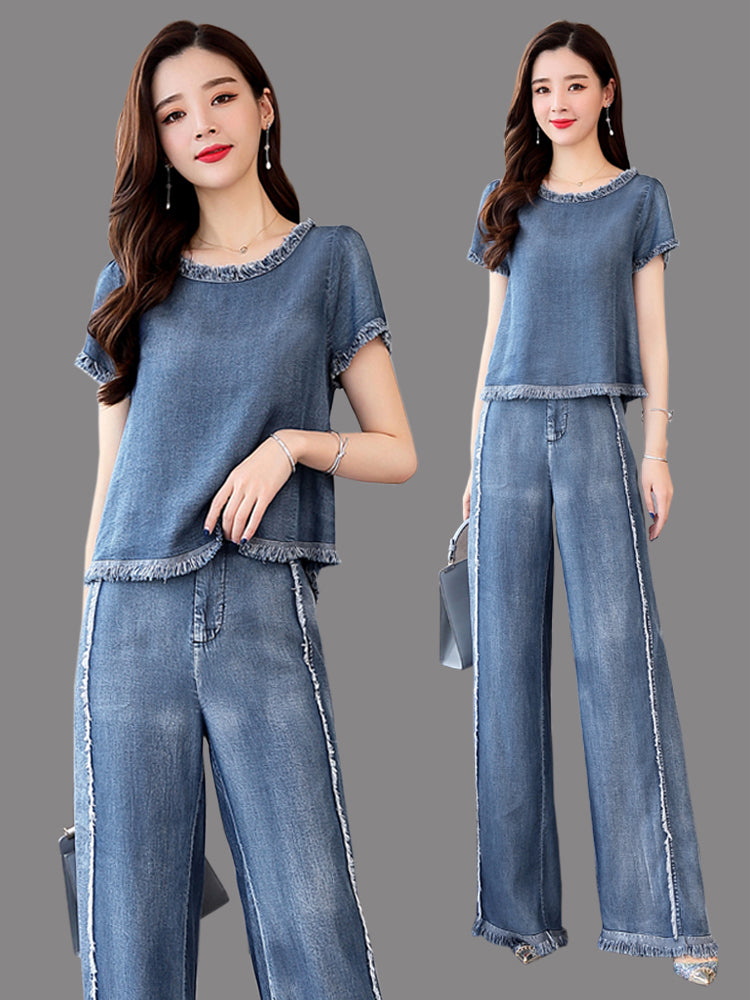 Cowboy suit female 2020 summer new Korean fashion temperament Western style two-piece wide leg pants royal sister by age - Marka Vip Online - ماركة