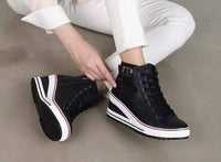 New Women's High Top Wedges High Heels Shoes Buckled Casual Sneakers Trainers