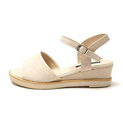 EpicStep Women's Open Toe Simple Buckle Strappy Platform Wedge Heel Sandals Shoes