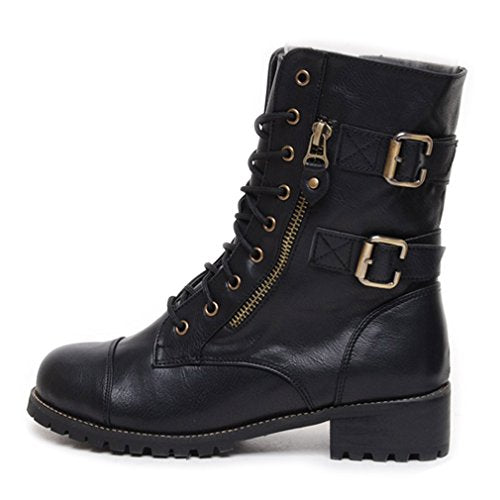 EpicStep Women's Casual Riding Biking Motorcycle Block Heels Middle Zip Lace Up Ankle Boots Shoes