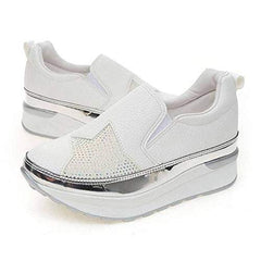 EpicStep Women's Leather Cushioned Slip On Wedge Heel Sneakers Trainers Shoes