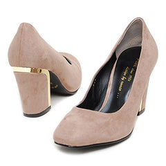 EpicStep Women's Dress Formal Business Suede Round Toe High Mid Block Heels Pumps Shoes