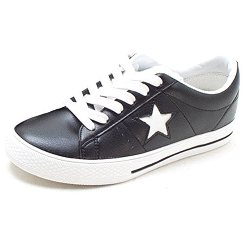 EpicStep Women's Casual Faux Leather Star Lace Up Low Heel Flats Shoes Sneakers Loafers