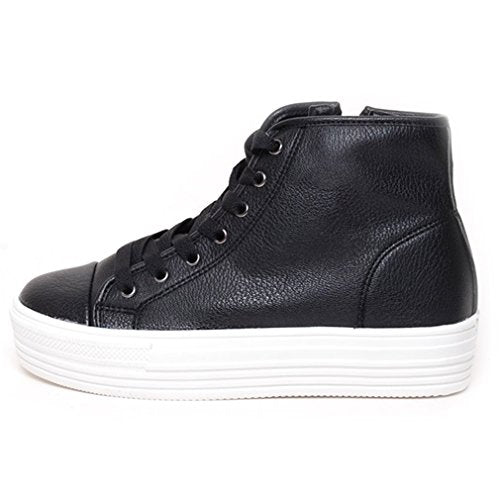 EpicStep Women's Casual Leather Zip Lace Up High Tops Thick Soles Shoes Sneakers Loafers