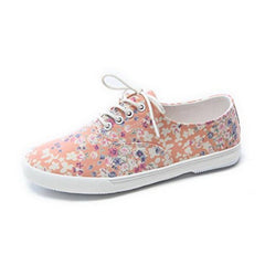 EpicStep Women's Lace Up Canvas Shoes Floral Flowers Flat Fashion Sneakers