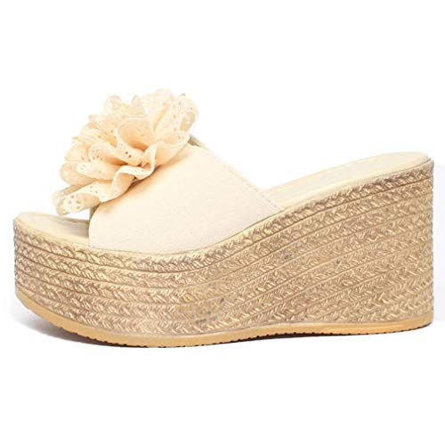 EpicStep Women's Floral Espadrille Peep Toe Platform High Wedge Heel Summer Slippers Slides