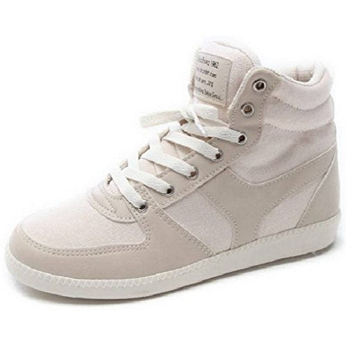 EpicStep Women's High Top Casual Lace Up Fashion Sneakers Hidden Wedges Shoes