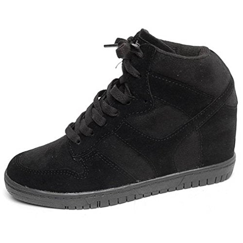 EpicStep Women's Casual Suede High Tops High Heels Hidden Wedges Lace Up Shoes Fashion Sneakers