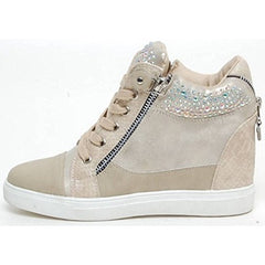 EpicStep Women's Casual Studded High Tops Hidden Wedges Heels Zip Lace Up Sneakers Shoes