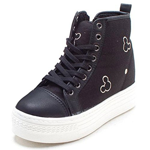 EpicStep Women's Casual Platform High Tops Zip Lace Up Fashion Sneakers Shoes