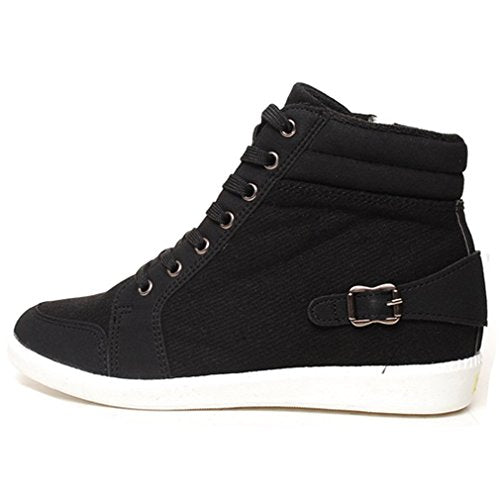EpicStep Women's Casual Warm Wool Zip Lace Up High Tops Mid Wedge Heels Shoes Fashion Sneakers