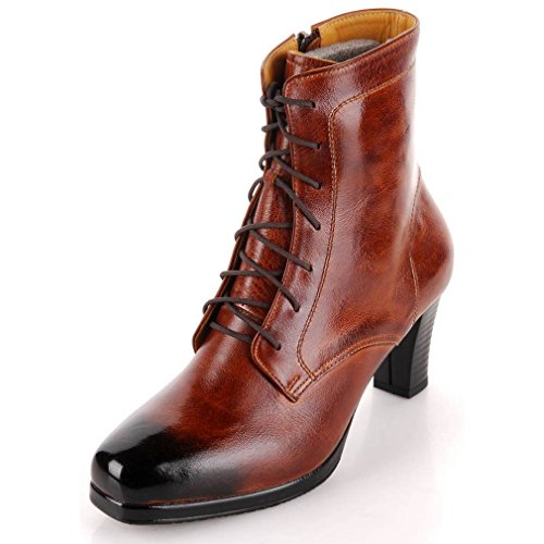 EpicStep Women's Handmade Casual Dress Formal Business Genuine Leather High Heels Ankle Boots Shoes