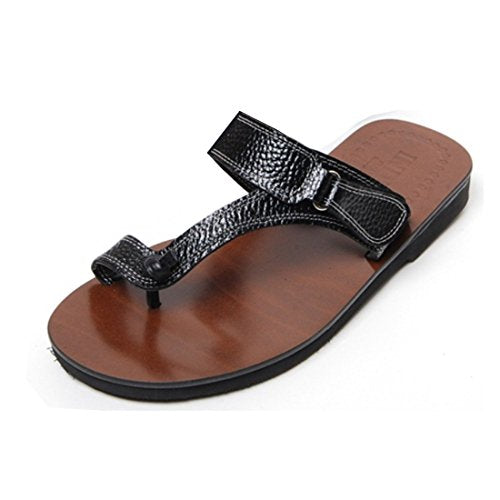 EpicStep Men's Boys Casual Genuine Leather Flip Flop Toe Loop Slippers Thongs Slides Sandals Shoes