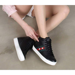 EpicStep Women's High Top Studs Wedges Shoes Mid Heels Lace Up Fashion Sneakers