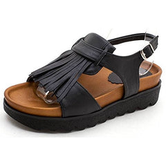 EpicStep Women's Casual Tassel Faux Leather Mid Heels Open Toe Buckle Strap Mule Sandals Shoes