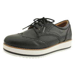 EpicStep Women's Leather Lace Up Wingtip Brogues Platform Loafer Flats Sneakers Shoes
