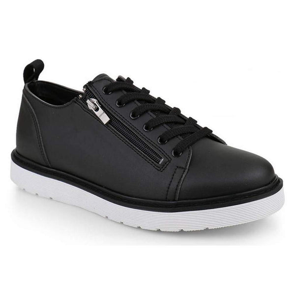 EpicStep Men's Casual Leather Double Zip Lace Up Fashion Sneakers Shoes