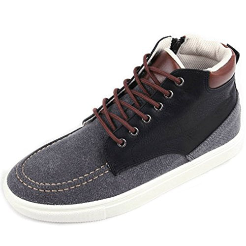 EpicStep Men's Casual Simple Two Tone Zip Lace Up High Tops Shoes Fashion Sneakers Trainers Loafers