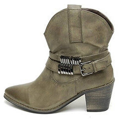 EpicStep Women's Casual Vintage Block Heels Zip Buckle Strap Ankle Boots Booties Shoes