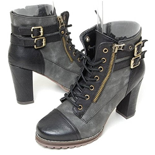 EpicStep Women's Vintage Zip Lace Up Ankle Boots Lady Pumps High Heel Buckle Shoes
