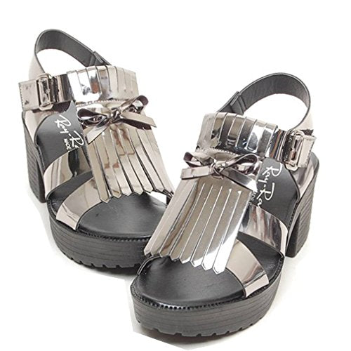 EpicStep Women's Casual Glitter Tassel Platforms Strapped Wedges Mid Heels Open Toe Sandals Shoes