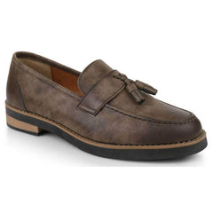 EpicStep Men's Dress Formal Leather Closed Toe Slip On Tassel Loafer
