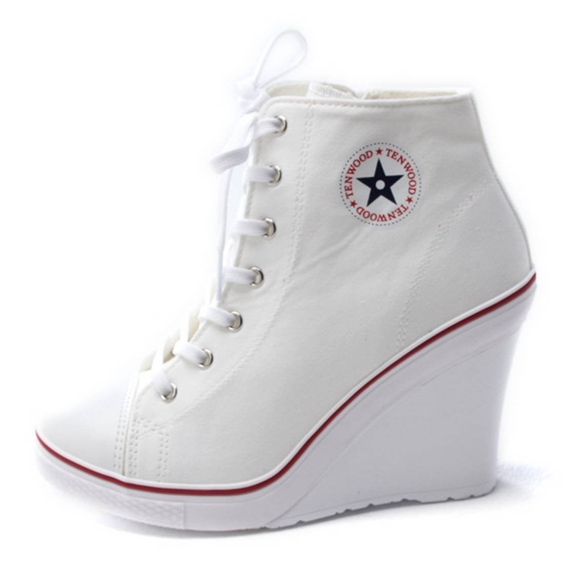 EpicStep Women's Canvas High Top Wedges High Heels Casual Fashion Sneakers