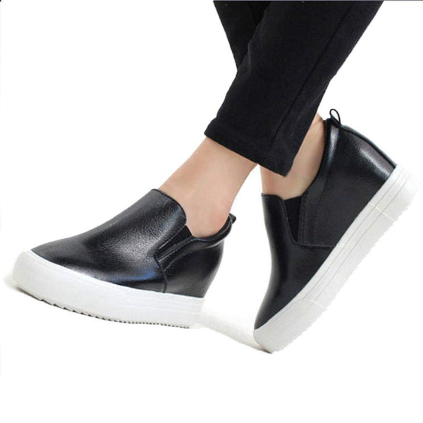EpicStep Women's Casual Leather High Mid Heels Hidden Wedges Slip On Platform Sneakers Loafers