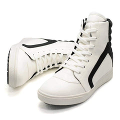 EpicStep Men's White Leather High Top Round Toe Lace Up Fashion Sneakers Shoes 7 M US