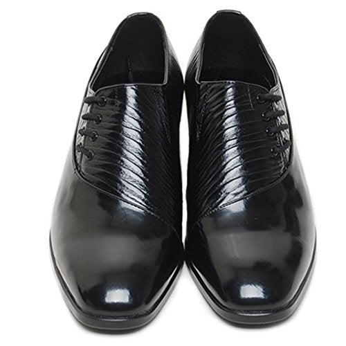 EpicStep Men's Genuine Leather Dress Formal Shoes Striped Lace Up Oxfords Loafers