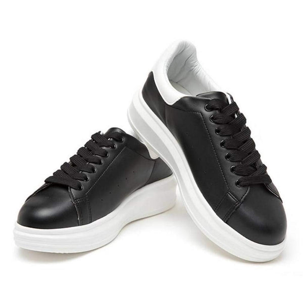 EpicStep Women's Casual Simple Comfy Cuty Leather Lace Up Fashion Sneakers Shoes