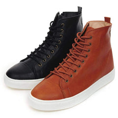 EpicStep Men's Leather High Top Round Toe Lace Up Fashion Sneakers Shoes
