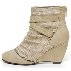 EpicStep Women's Casual Dress Formal Linen High Mid Wedge Heels Ankle Boots Booties Shoes