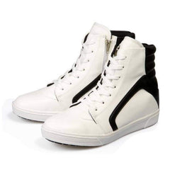 EpicStep Men's White Leather High Top Round Toe Lace Up Fashion Sneakers Shoes 9.5 M US