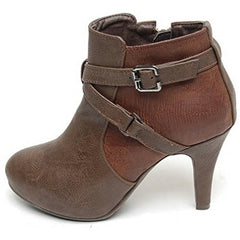 EpicStep Women's Platform Ankle Boots Lady Pumps Booties Mid Heel Buckle Strap Shoes